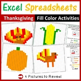 Excel Spreadsheets Thanksgiving Mystery Pictures Fill Color - Computer Lab