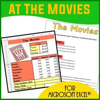 Microsoft Excel Spreadsheets - At The Movies Spreadsheet Scenario