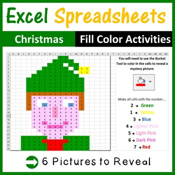 Excel Spreadsheets Christmas Mystery Pictures Fill Color 2 - Computer Lab