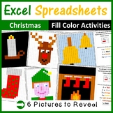 Excel Spreadsheets Christmas Mystery Pictures Fill Color 2 (Pixel Art)