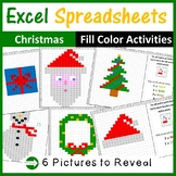 Excel Spreadsheets Christmas Mystery Pictures Fill Color (Pixel Art)