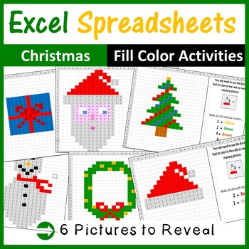 Excel Spreadsheets Christmas Mystery Pictures Fill Color -