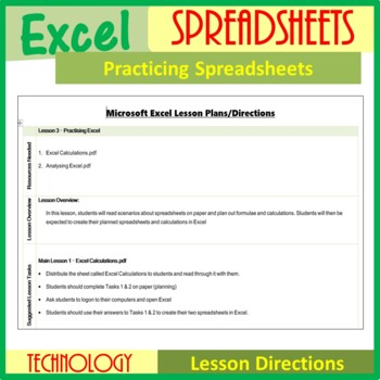 Excel Spreadsheets – Practising Spreadsheets (ISTE 2016 Aligned)