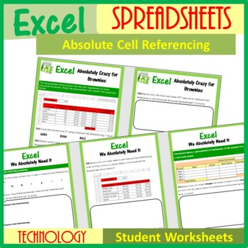 Excel Spreadsheets - Absolute Cell Referencing (ISTE 2016 Aligned)