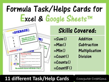 Google Sheets & Excel Spreadsheets - Task Cards/Help Cards (Formula Practise)