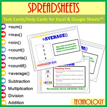 Google Sheets & Excel Spreadsheets - Task Cards/Help Cards (Formula Practise)