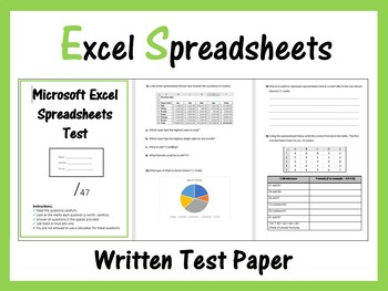 Microsoft Excel Spreadsheets Paper Test - (ISTE 2016 Aligned)