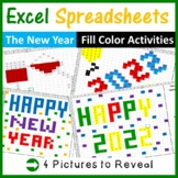 Excel Spreadsheets New Years Mystery Pictures Fill Color (Pixel Art)