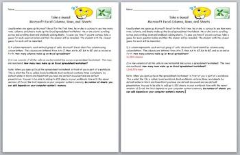 Microsoft Excel- Take a Guess! Microsoft Excel Columns, Ro