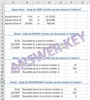 Text and Math Functions Activity for Microsoft Excel