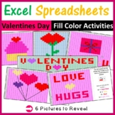 Excel Spreadsheets Valentines Day Mystery Pictures Fill Color (Pixel Art) Pack 2