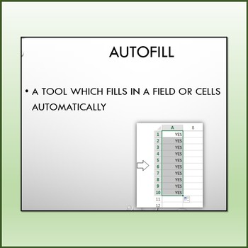 Microsoft Excel Vocabulary Definitions Show