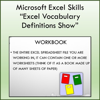 Vocabulary Definitions Slideshow for Teaching Microsoft Excel | TpT
