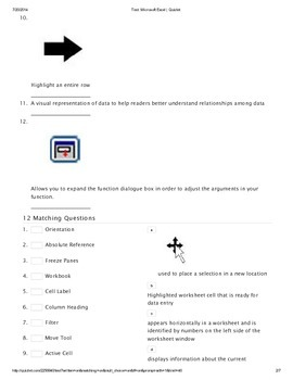 Microsoft Excel Vocabulary and Icons Quiz