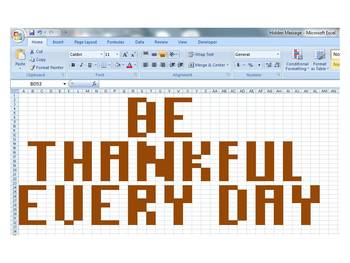 Microsoft Office Excel Hidden Thanksgiving Message Activity
