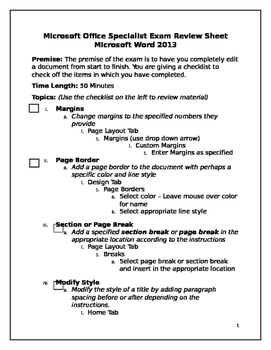 Microsoft Office Specialist Exam Review Sheet Word 2013