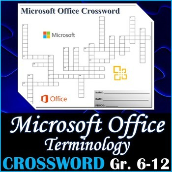 Crossword Puzzle For Teaching Microsoft Office Terminology Activity