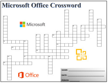 Crossword Puzzle for Teaching Microsoft Office Terminology - Activity Worksheet