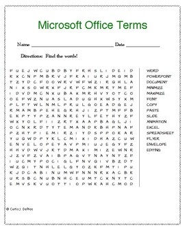 Microsoft Office Terms WORD SEARCH