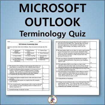 Vocabulary Slideshow, Quiz and Word List for Teaching Microsoft Outlook