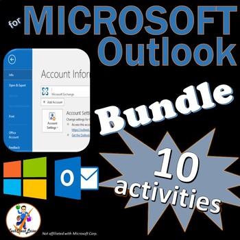 10 Activities for Teaching Microsoft Outlook 2016 & 2013 Skills BUNDLE