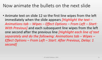 Microsoft PowerPoint Skills - Animations Lesson Activity
