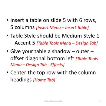 Formatting Tables Lesson Activity for Teaching Microsoft PowerPoint Skills