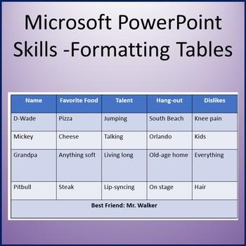 Microsoft PowerPoint 2013 Skills - Formatting Tables Lesson