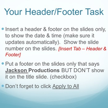 Microsoft PowerPoint Skills - Headers Footers and Comments Lesson