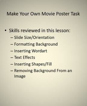 Movie Poster Lesson Activity for Teaching Microsoft PowerPoint Skills