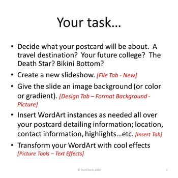 Microsoft PowerPoint Skills - Postcard Lesson
