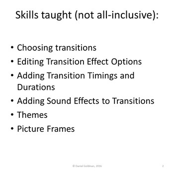 Microsoft PowerPoint Skills - Transitions and Sound Effects Lesson Activity