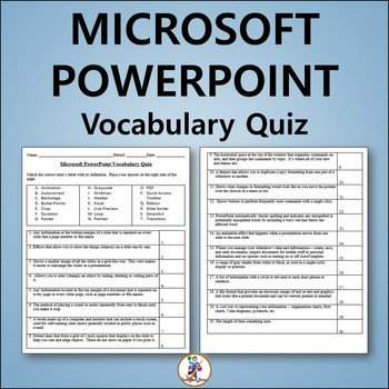 Microsoft PowerPoint 2013 Vocabulary Quiz and Word List