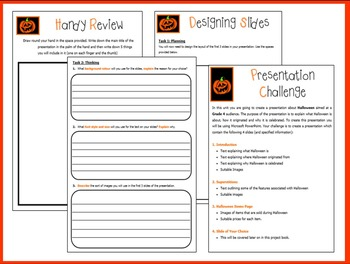 PowerPoint Project Planning Work Book - Halloween (ISTE 2016 Aligned)