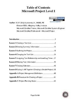 Microsoft Project Level 1 Courseware (2013 thru 2016)