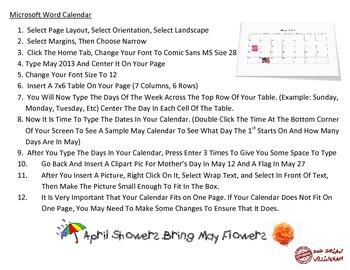 Microsoft Word 2007 Calendar Project