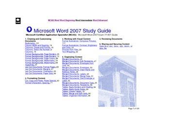 Microsoft Word 2007 Intermediate