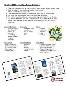 Microsoft Word 2007 Travel Brochure Project