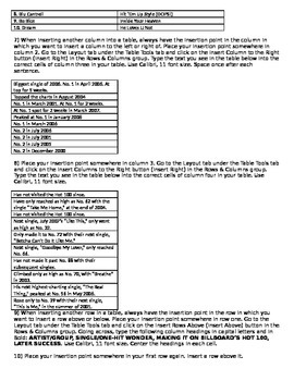 Microsoft Word 2010 Activity- Creating Tables in Word- One-Hit Wonders