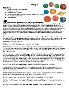 Microsoft Word 2010 Activity- Creating Tables in Word- Weight on Various Planets