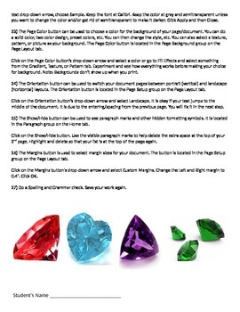 Microsoft Word 2010 Activity- Formatting in Microsoft Word- Birthstones