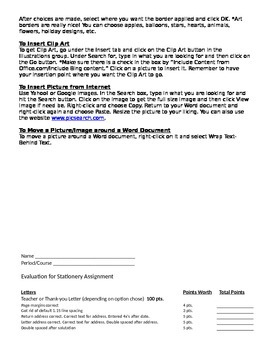 Microsoft Word 2010 Activity- Stationary/Personal Business Letter Assignment