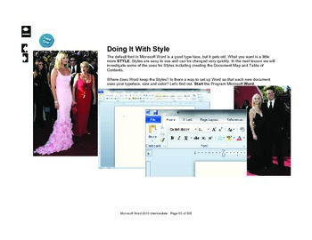 Microsoft Word 2010 Advanced: Doing it With Style