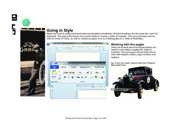 Microsoft Word 2010 Advanced: Going In Style