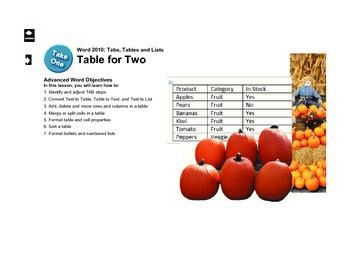 Microsoft Word 2010 Advanced: Table for Two