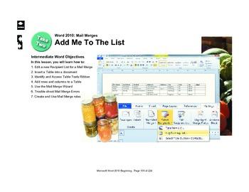 Microsoft Word 2010 Intermediate: Add Me to the List