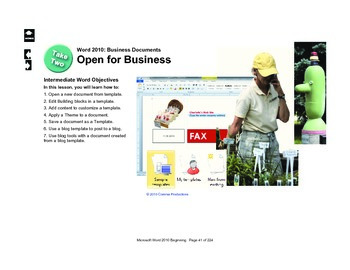 Microsoft Word 2010 Intermediate: Open for Business