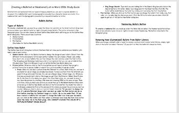 Microsoft Word 20106- Creating Bulleted and Numbered Lists in Word Study Guide