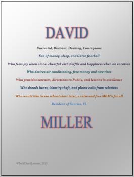 Microsoft Word Skills - Bio Poem Lesson