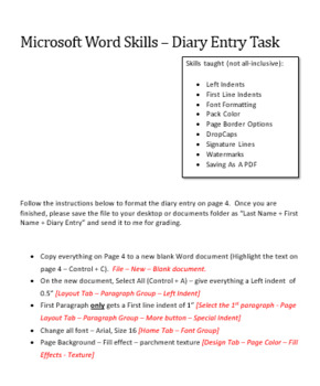Microsoft Word Skills - Diary Entry Lesson